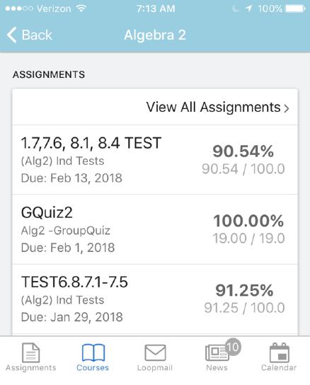 90% in Algebra 2