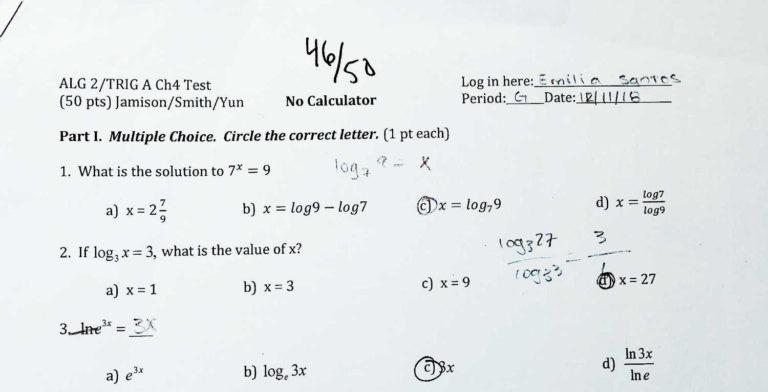 92% in Algebra 2/Trig
